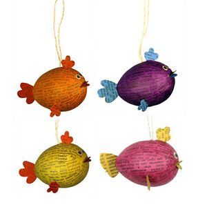 Up Cycled Paper Mache Animal Ornaments Handmade in the Philippines, Fair Trade