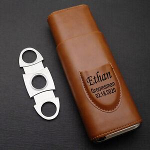 Cigar Case With Cutter Custom Cigar Case Leather Cigar Case Personalized Cigar