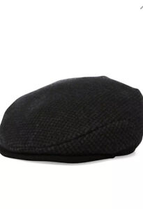 Polo Ralph Lauren Houndstooth Wool Driving Cap Hat Newsboy Cabbie SM / MED BLACK