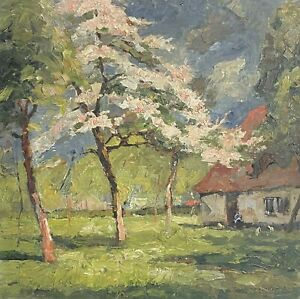 1950'S FRENCH POST-IMPRESSIONIST SIGNED OIL - BLOSSOM TREES WOODLAND GARDEN