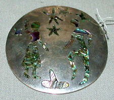 . Vintage Sterling Mexican Taxco Mexico .925 Pin Brooch With Inlay Shell