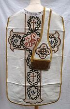 French Chasuble with Stole White Silk and Needlepoint Inlayed
