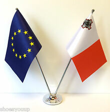European Union EU & Malta Flags Chrome and Satin Table Desk Flag Set