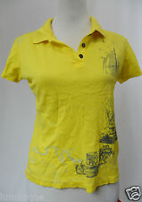 **DUCKS UNLIMITED** Yellow Ship Print Polo Shirt M 10 12 100% Egyptian Cotton