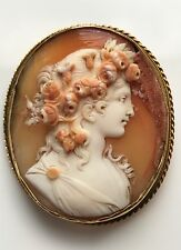 Charming Victorian 14ct Gold Carved Cameo Flora (Goddess Of Flowers) (At Fault)
