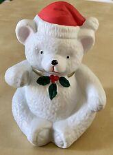 "Vtg 1982 Mann Porcelain Music Box 6"" Christmas Teddy Bear Plays ""White X-Mas"""