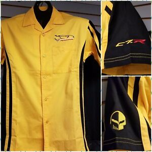 Corvette C7R Racing Garage Pit Crew Button-Up T-Shirt Yellow Buds Chevrolet