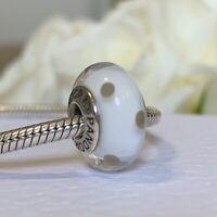 Pandora White and Black Murano Glass Polka Dots Charm, 925 ALE Hallmarked