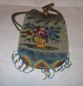 Victorian Era Draw change Purse Beaded, Great Colors
