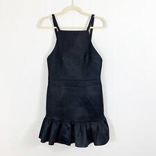 FINDERS KEEPERS AUSTRALIA Black Open Back Cute Ruffle Mini Dress Size Small
