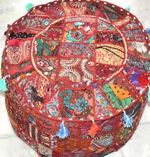 HANDMADE SEATING POUF COVER FOOT STOOL BOHEMIAN PATCHWORK ROUND RED OTTOMAN