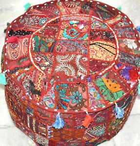 INDIEN HANDMADE RED SEATING POUF COVER FOOT STOOL BOHEMIAN PATCHWORK OTTOMAN