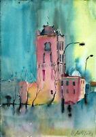Bild Original Rotes Rathaus Berlin Aquarell Original 24x17 cm Stadt neu signiert