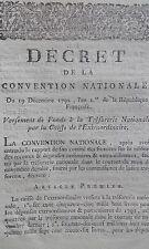 Décret versement de fonds Trésorie Nationale Caisse de L'extraordinaire 1792