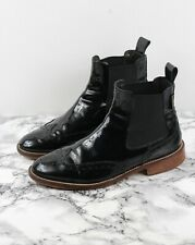 RUSSELL & BROMLEY Black Patent Leather CADOGAN Ankle Boots, Size UK 5 / EU 38