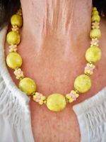 Authentic Vintage 1950's Lime Green & Pink Adjustable Necklace