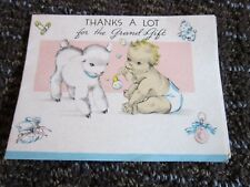 Vintage Greeting Card Thank you for Baby Gift Small Lamb Bubbles Sweet Unused