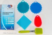 Kitchen Silicone 5 Piece Scrubber Set. Dishwasher Safe, BPA Free, Food Safe.