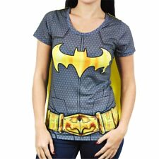 Womens DC Comics Batman Superhero Costume T Shirt with Cape Black Fancy Dress