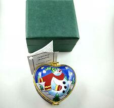 KELVIN CHEN Enamel Hinged Box Heart Shape Snowman EH509