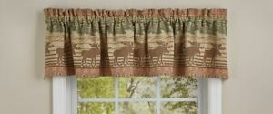 """1 Moose Jacquard Forest Rustic Country Cabin Cotton Valance 72"""" x 14"""""""