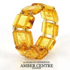 GERMAN BALTIC TRANSPARENT YELLOW AMBER HANDMADE ELASTIC RING RB016 RRP £35!!!