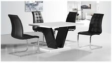 White & Black High Gloss Dining Table and 4 Chairs set
