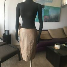 AUTH THIERRY MUGLER 100% LEATHER GRAY SKIRT Sz 42 IT / 8 US MADE IN ITALY NWOT