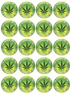 Cannabis Leaf Edible Icing, Cupcake Toppers x 20 Set 3