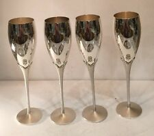 Four Silver Plate Shampagne Flutes With Crystal Decore Wedding Toast Stem Ware