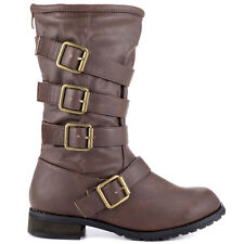 Women Brown Promise Faux Leather Combat Boots mid calf Motorcycle Riding  5.5-10