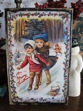 Primitive Christmas Sign Merry Christmas Sliding Vintage Postcard Reproduction
