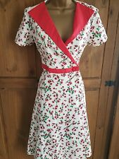 BNWT LOVELY LADIES OFF WHITE/PINK  MIX FLORAL 50'S STYLE DRESS BY LINDY BOP UK12