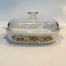 "Corningware Spice Of Life 10"" Sq Casserole Covered Dish Vintage"