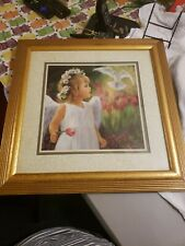 Vintage Home Interiors Laurie Snow Hein Little Girl Angel and Dove Picture