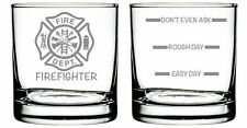 Firefighter Glass- Set of 2 -Old Fashioned Glass -Funny Personalized Etched