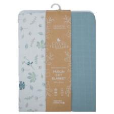 Living Textiles Muslin Cot Blanket 100 X 120cm Banana Leaf/teal