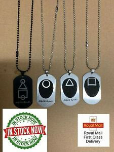 Squid Game Korean Drama Peripheral Army Brand Necklace Stainless Steel Dog Tag