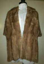 Vintage Beige Fur Mink Stole Wrap Wedding Cape Capelet Formal Jacket