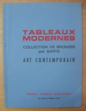 CATALOGUE DE VENTE TABLEAUX COLLECTION DE BRONZES PAR BARYE PALAIS GALLIERA 1972