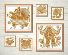 Baby Items Line Work 12 Machine Embroidery Designs Cd or Usb