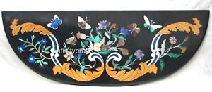60 x 18 Inches Marble Coffee Table Top Inlay Semi Precious Stones Console Table