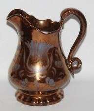 "Antique Copper Lustre Ware - 7 3/4"" Snake Handle Jug - vgc"