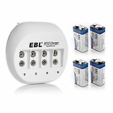 EBL 4x 600mAh 9V Li-ion Rechargeable Batteries + 9 VOLT Battery Charger