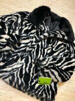 U-13~Sam Edelman Womens Faux Fur Coat Black Zebra Pockets Long Sleeve Lined S