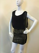 Definitions Ladies Black Overlay Gold Studded Bodycon Skirt Mini Dress UK Size 8