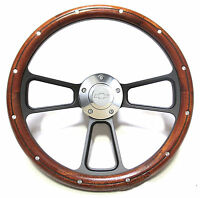 El Camino, Chevelle Custom Wood Steering Wheel w/Chevy Horn & Adapter Full Kit
