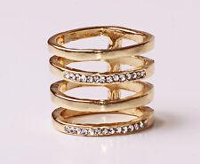 Trendy Gold Tone Bianco Strass arrugginite quadruplicare anello metallico (CL25)