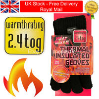 Ladies Winter Warm Black Thermal Insulated Gloves 2.4 Tog Soft Touch Extra Thick