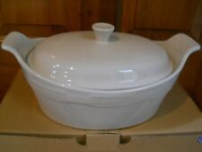 Nib Longaberger Pottery Woven Traditions Medium Oval Casserole With Lid Ivory